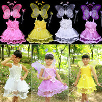 Free Shipping Double Layer Feather Butterfly Wings Set Dance Costume for Little Girl