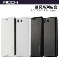 ROCK Faith Series Ultra-Slim pu Leather Flip Case For Sony Xperia Z3 Compact, 2 color for choose, 1pc freeshipping