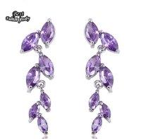 Purple Crystal AAA Zircon Drop Earring Long Dangle Earring ZC047ER