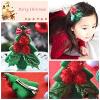 Wholesale 20pcs Fashion Balls Feltie Christmas Tree Hair Clips With Plaid Ribbon Bow Girls Cute Hairpins Hair Accessories