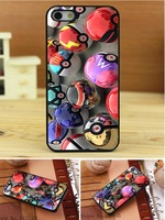 10PCS Pokemon Pokeball style Print On Pu Leather Hard Black Cover Case  for iphone 4 4s 4g 4th
