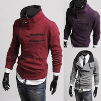 New 2014 Fashion Autumn Winter Men Hoodies Sweatshirts Slim Zipper Outdoor Hoodies Coat Stand Collar Outerwear Casual Clothing