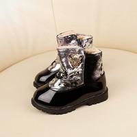 2014 baby girls plus velvet winter snow boots Warmth  Foot length 13.1 ~ 15cm