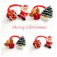 Wholesale 20pcs Cute Children Christmas Ponytail Holder Resin Chirstmas Santa/Snowman/Tree Hair Ties Lovely Hair Accesory