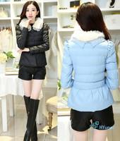 Soft-collar Feathers New 2014 Bowknot Good Quality Gentle Black Short Style Fashion Slim Winter Warm Women's Jacket Outwear Coat
