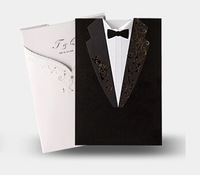 50 sets/lot, Classic Fashion Wedding invitation Cards,Black Back White Front For invitation Cover,With Inner sheet,Envelope