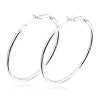 Wholesale 18K White Gold Plated Lady Smooth Hoop Earring Wholesale Nickel Free,14ER0774