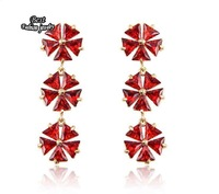 Gold Plated Red Snowflake Zircon Dangle Earring Long Drop Earring ZC051ER