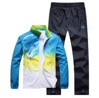 2014 new Men nk Brand jogging tracksuit set,long sleeve stand collar polyster jacket + pants sport suit men ,sportswear L-4XL