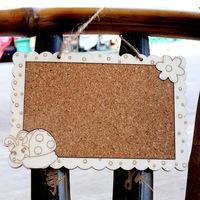Wooden Frame Cork Note Mini Memo Message Board T1630