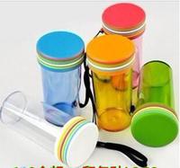 Colorful rainbow glass plastic seal with travel mug cup plastic cup volume custom LOGO