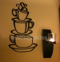 Free Shipping Coffee House-Removable Black Wall Art Sticker Decal Home Decor [4 4007-237]