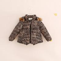 free shipping!2014 winter little girl kids leopard print fur hood cotton-padded coat warm thick jackets