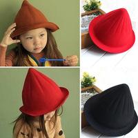 Korean models wool hat children hat girls small boy pointed pointy hat woolen baby witch hat  004