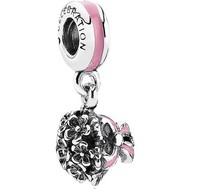 Women Jewelry with 925 Sterling Silver Pink Enamel Flower Bouquet Drop Charm Bead Fashion DIY Bracelet Necklace