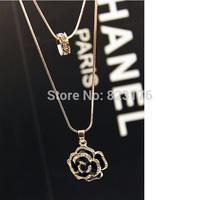2014 New design high quality necklace women clothes accessories elegant flower pendant