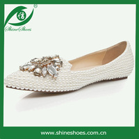 free shipping white flat shoes withcrystal