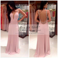 New Arrival Beautiful Beading O Neck See Through Back Long Elegant Prom Dress Boutique Pink Party Dress Vestido Baile PG368
