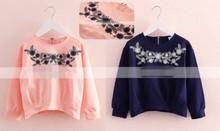 Free&Drop Shipping, Elegant Flower Embroidered Hoodies For Girls Korean Style Fashion Kids Pullover Sweatshirt T Shirts(China (Mainland))