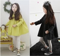 2014 new Autumn unique korean princess  girl clothings,baby girls cotton loose dress with ruffles,high quality chilren  clothes