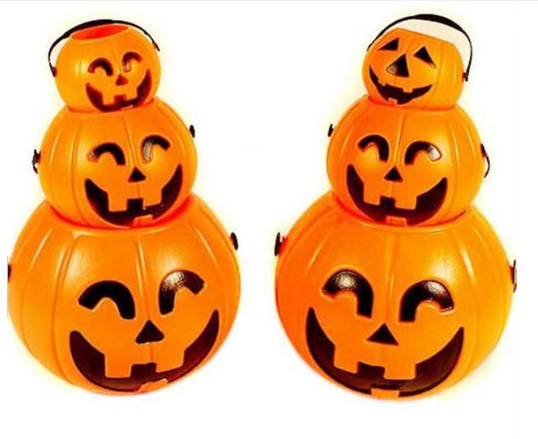 N1 Pumpkin barrels Middle Size Halloween Pumpkin Candy Plastic Basket Barrel Bowl with Smile Face Pattern(China (Mainland))