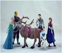 2014 New Movie frozen Figures Toy Topper Deco Kids Toy Set Kits Frozen Dolls Anna Elsa Hans Kristoff Sven Olaf 6 in 1  6pcs/set