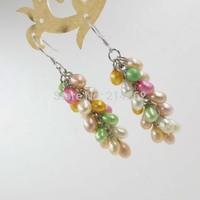 multicolor & Dark mixed freshwater pearl dangle earring grape shape 519/