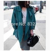 Free shipping 2014 autumn woman elegance Fasion army green Casual coat women trench coats