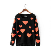 2014 new girl cute red peach heart prints knitwear women o-neck pullover sweater 351721