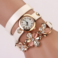 Hot Sale!  Fashion Latest Popular Hawaiian Style Sparkling Rhinestone Long Leather Sling Chain Quartz Watches Women