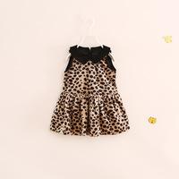 fashion children girl kids sleeveless animal print leopard wool dress thickened