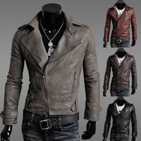 New Fashion Motorcycle Leather Jackets Men's Fall 2014 Autumn Men Waterproof Leather Slim Fit Jackets Coat Clothing Casual M-XXL