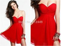 2014 Fashion Lovely Layered Chiffon Sweetheart Mini Dress Short Above knee Red Elegant Bridesmaid Dresses Dress