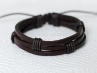 241 Men's brown leather bracelet Leather bands bracelet Leather cords bracelet Fashion leather jewelry For men & women