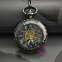 fashion wholesale price good quality vintage father Stylish black Hand Wind Roman Number man Pocket Watch Mechanical hour