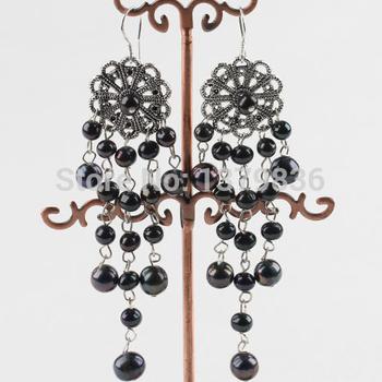 Винтаж стиль горячая распродажа люстра форма черный пресной воды жемчужные серьги