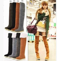 2014 New arrival women Snow boots Over the knee Flat Heel women Long boots Warm motorcycle boots free shipping