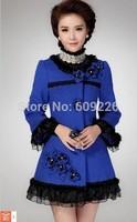 female woolen outerwear medium-long  2014 embroidered lace woolen slim woolen overcoat