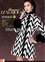 2014 women's slim fox fur woolen overcoat elegant stripe woolen outerwear