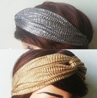 2014 Autumn winter new fashion headwrap women's headband Elastic wrinkle hair band gold silver colors