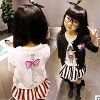 The autumn of 2014 girls long sleeved cardigan T-shirt bowknot printing.GW058