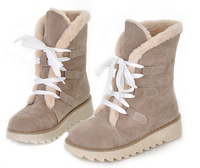 Women snow boots 2014 autumn and winter thick bottom waterproof flat cotton-padded shoes female laces up warm fur ankle boot