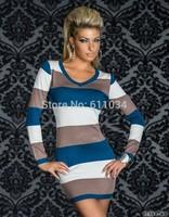 Plus Size M L XL XXL Women Sexy Autumn Winter O-Neck Long Sleeve Hot Colored Strips Club wear Dress Fashion Mini Dress
