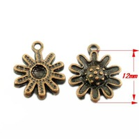 80PCS  Fashion Antique Copper Zinc Alloy Cute Lovely Flower Charms Necklace Pendant 12x12mm