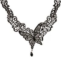 Fashion Big Butterfly Crystal Drop False Collar Black Lace Necklace Z7T1