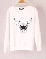 Fast Shipping Winter New 2014 Women Fashion Ox Printed Sweatshirts,Hoodies Casual Sport Suit,Girl Cow Tracksuits,Women Pullovers