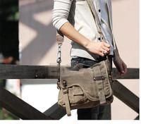 2014 New Men's Casual Canvas Genuine Leather Fashion Unique Tactical Vintage Design Travel School Messenger Shoulder Bags