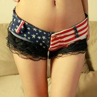 Sexy Women Lace Denim Shorts Woman's Short Jeans hot Flag Print Pants Low Waist Skinny Trousers All season Cotton Slim Clubwear
