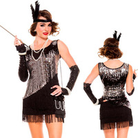 Free shipping Sequin Sparkly Fearless Flapper Costume 2014 Women Sexy Costume Wholesale 10pcs/lot 8819