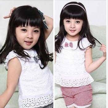 Дети одежда кружево дети девушка костюм майка + решетки шорты брюки 2 цвета детская ...
